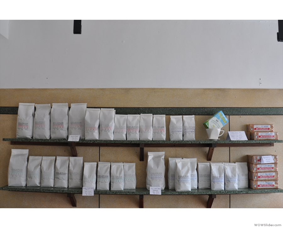 Bags and bags of coffee for you to buy and take away.