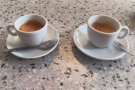 I ordered an espresso (left) and an old-fashioned espresso (right).