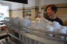 Here's Jack in his natural environment, behind the espresso machine.