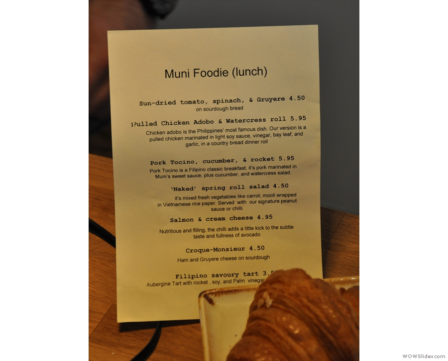 The lunch menu.