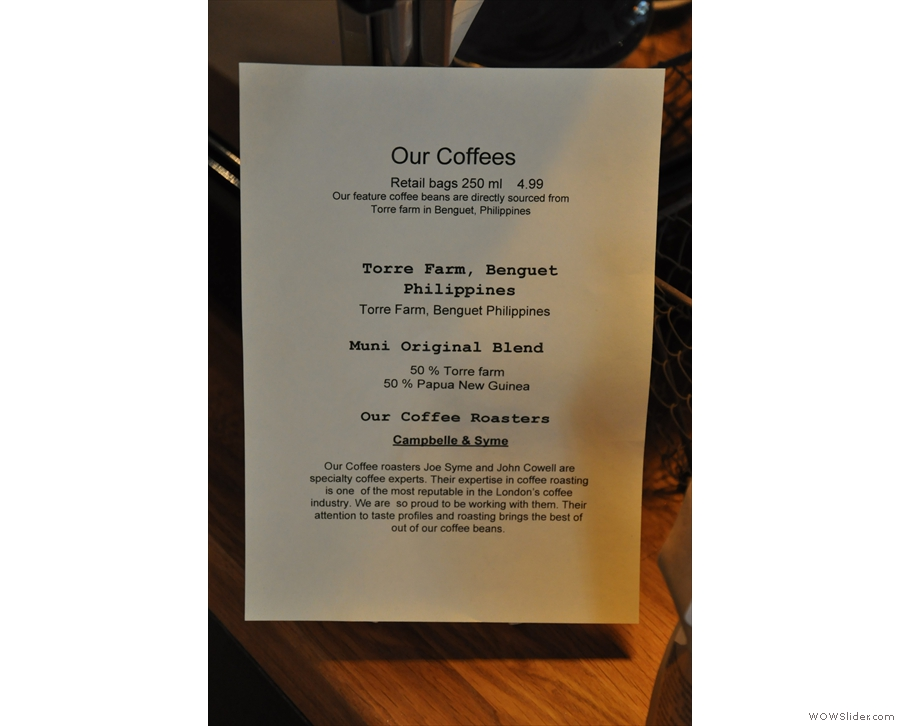 A note about Muni's coffee, its unique selling point.