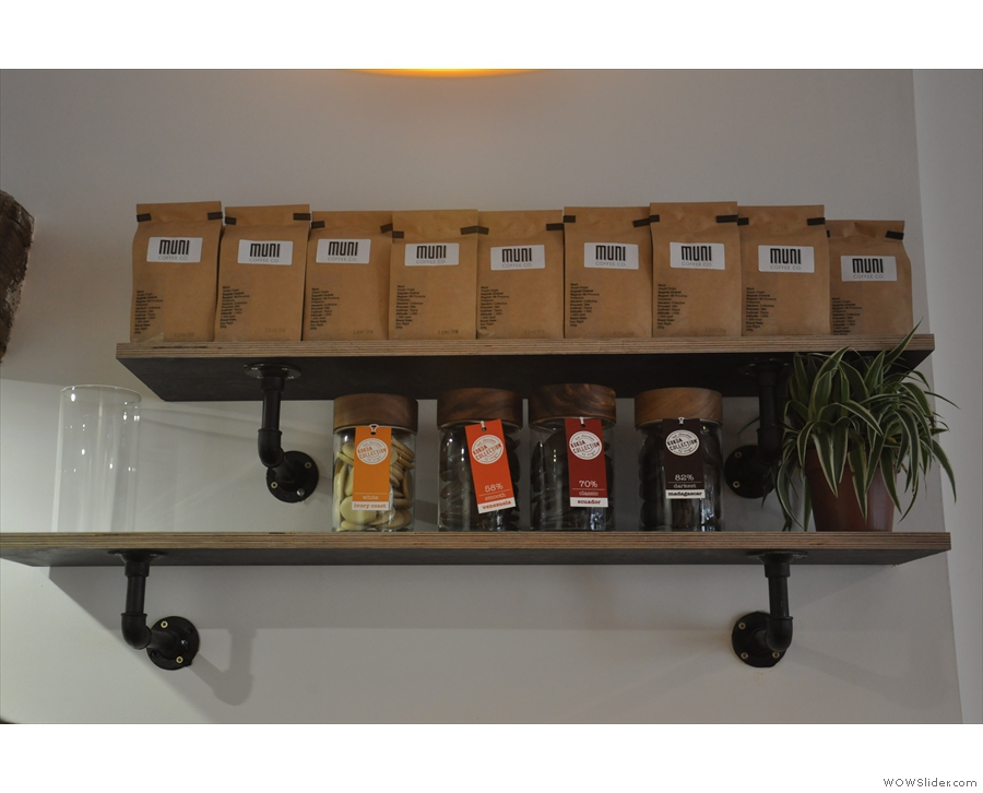 This shelf of coffee is behind the espresso machine, along with old friends Kokoa Collection.