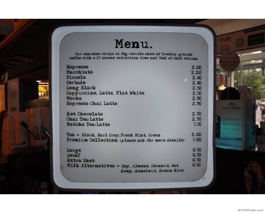 Talking of drinks, here's the menu. Pretty comprehensive!