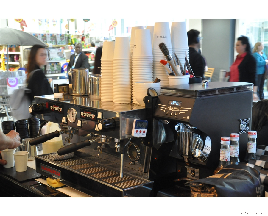 The business end of Pitch. The La Marzocco is temporary: there's a custom Linea PB on order!