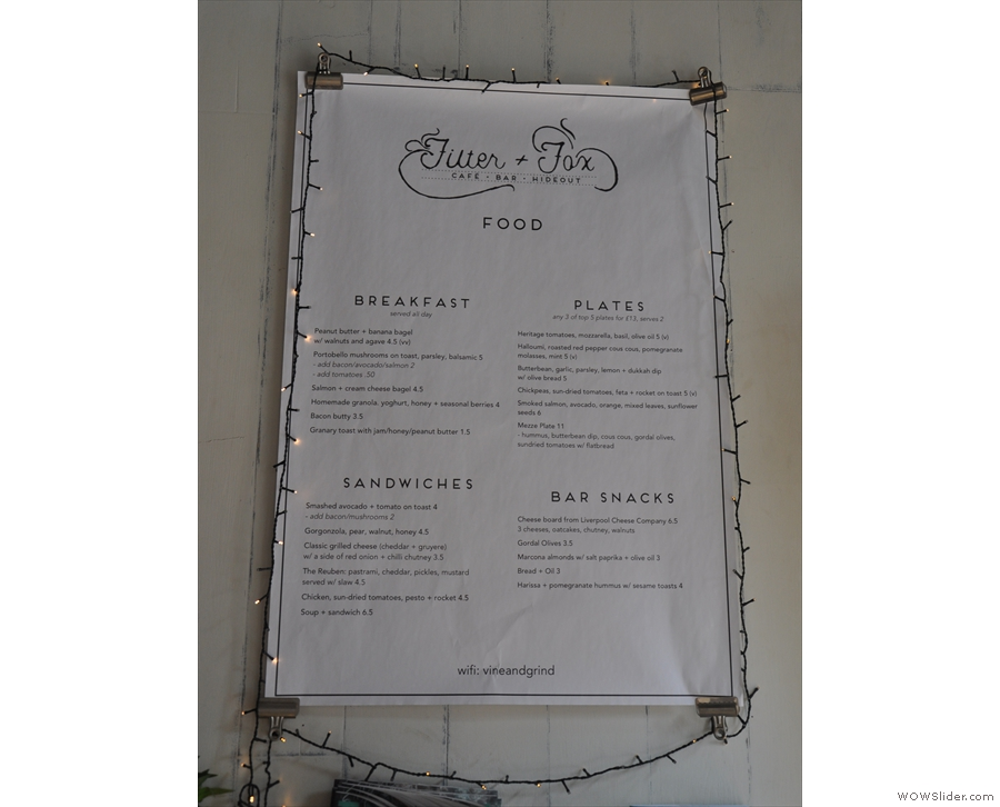 The food menu gets a similar treatment. There are also full menus on the tables.