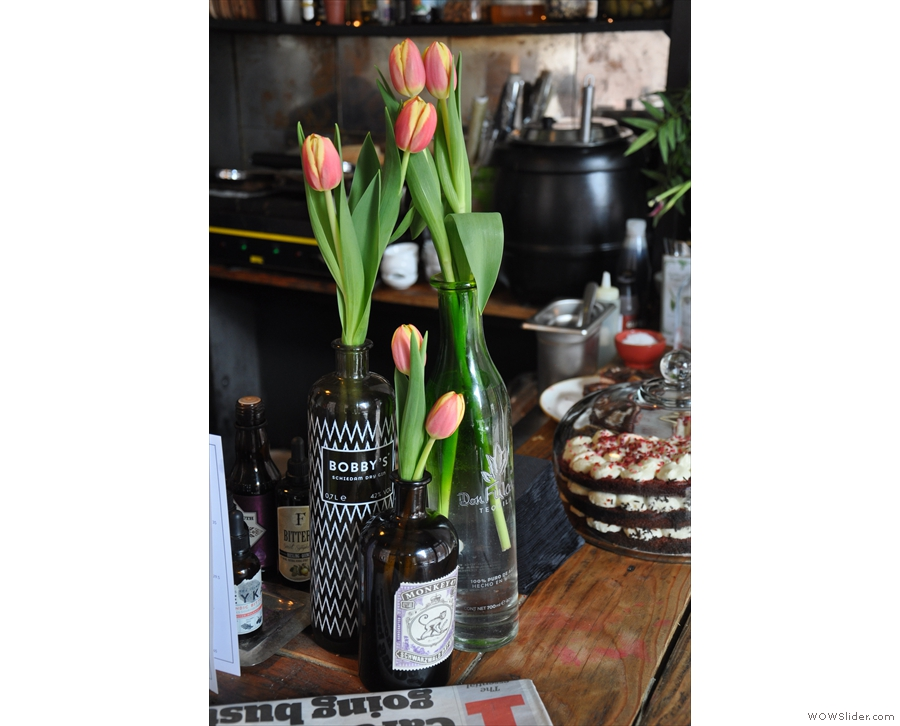 ... with more tulips at the end of the counter