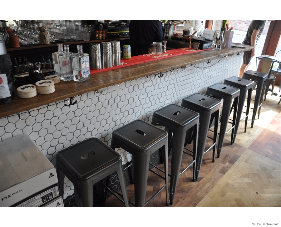 ... it's best to sit on one of these stools along the long side of the counter.