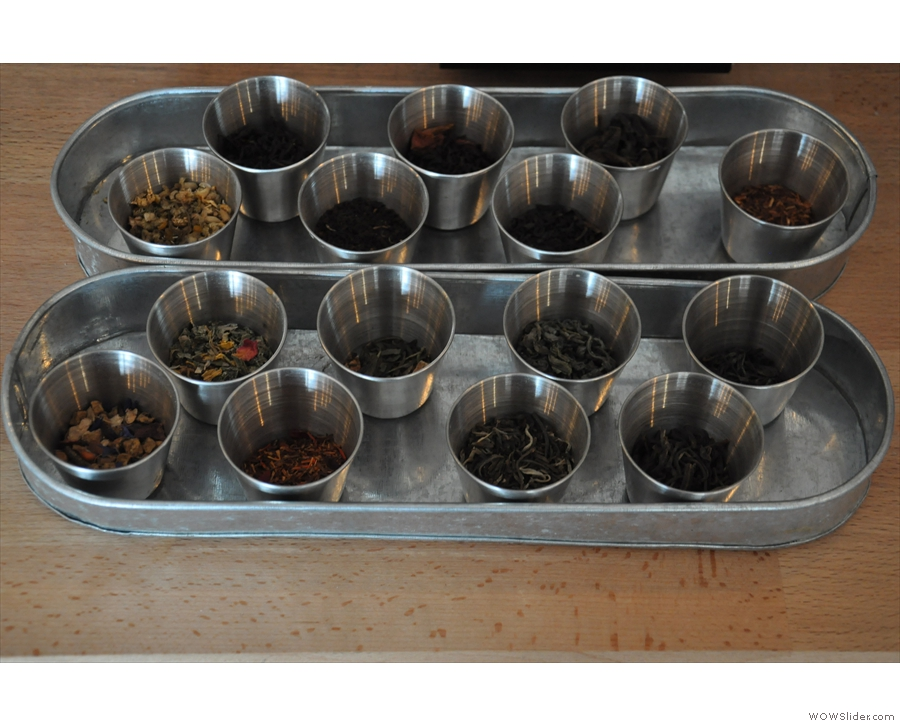 Each of the teas on offer is on display for you to take a sniff if you desire.