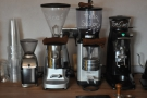 Four grinders: impressive! Filter, deacf & two house-blends, all from The Roasting Party.