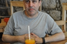 Meanwhile, my friend Lev would like it known that he was very happy with his choice of freshly-pressed orange juice. Far happier than this photo implies.