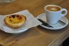 My friend Dave had a macchiato and a nata (Portuguese custard tart).