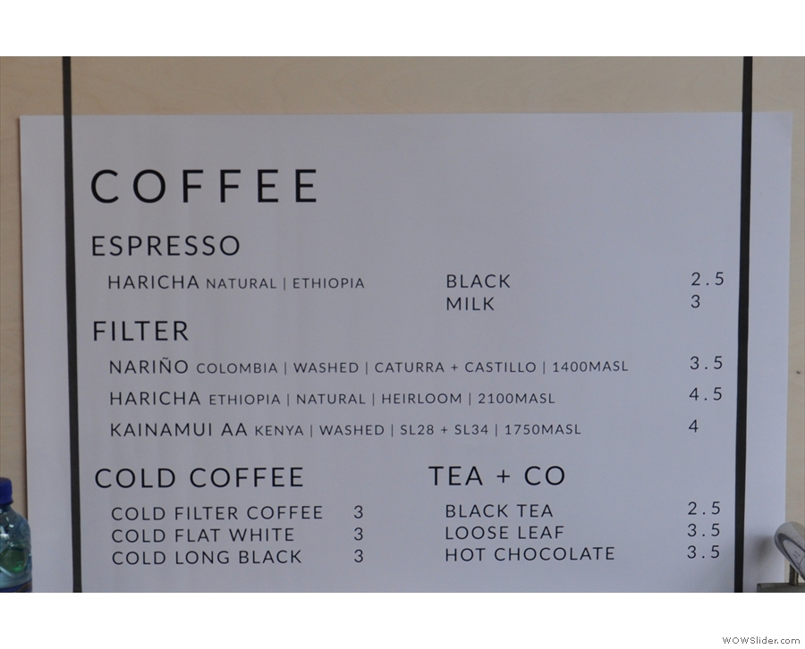 ... returning later for coffee. What a lovely, concise menu.