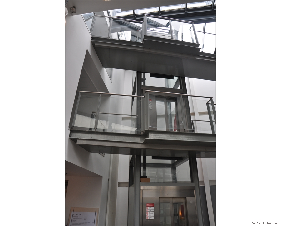 The lift runs all the way from the basement to the third flloor at the top of the building.