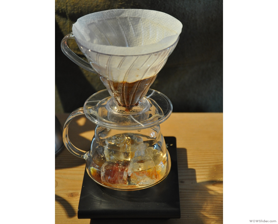 Prolog also does an iced-V60, inspired by a visit to Tokyo. There's a same bloom process...