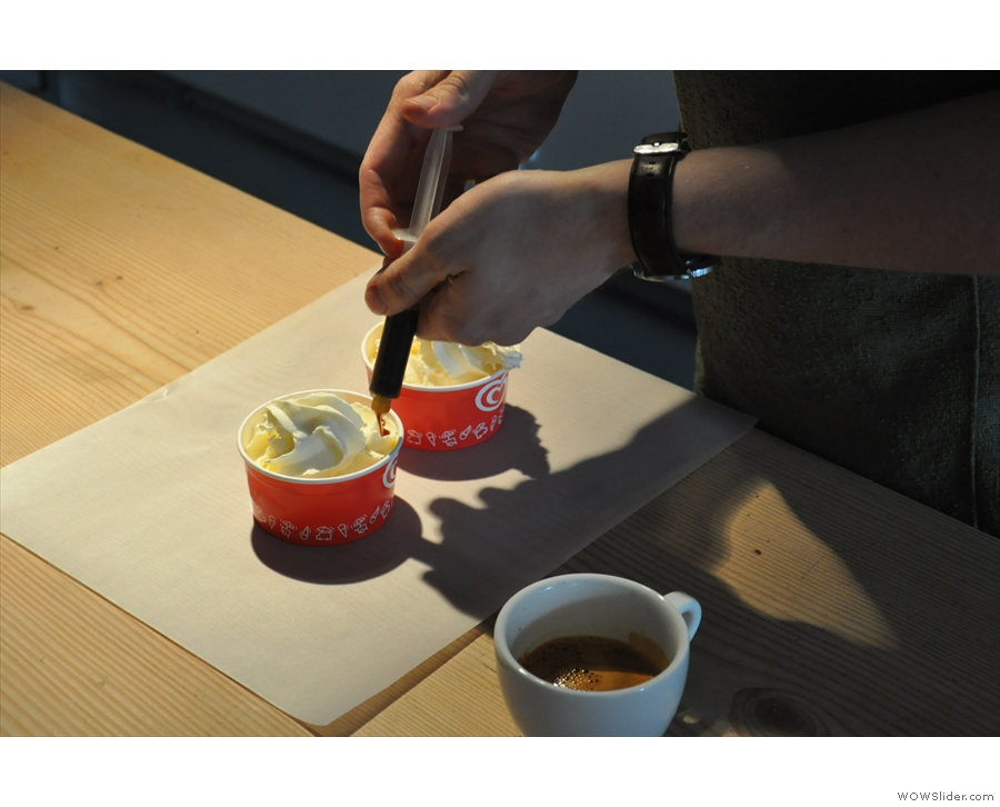 A syringe-full of espresso is carefully applied to each bowl...