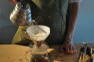 Prolog does all of its filter coffee through the V60. After letting it bloom...