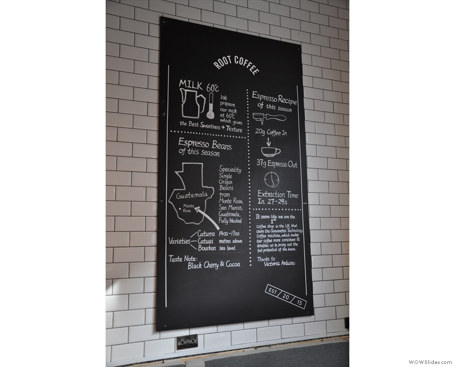 The helpful blackboard on the wall in the seating area explains what Root's all about.