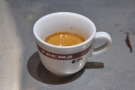 The proof of the pudding: one very excellent espresso. Nice cup too.