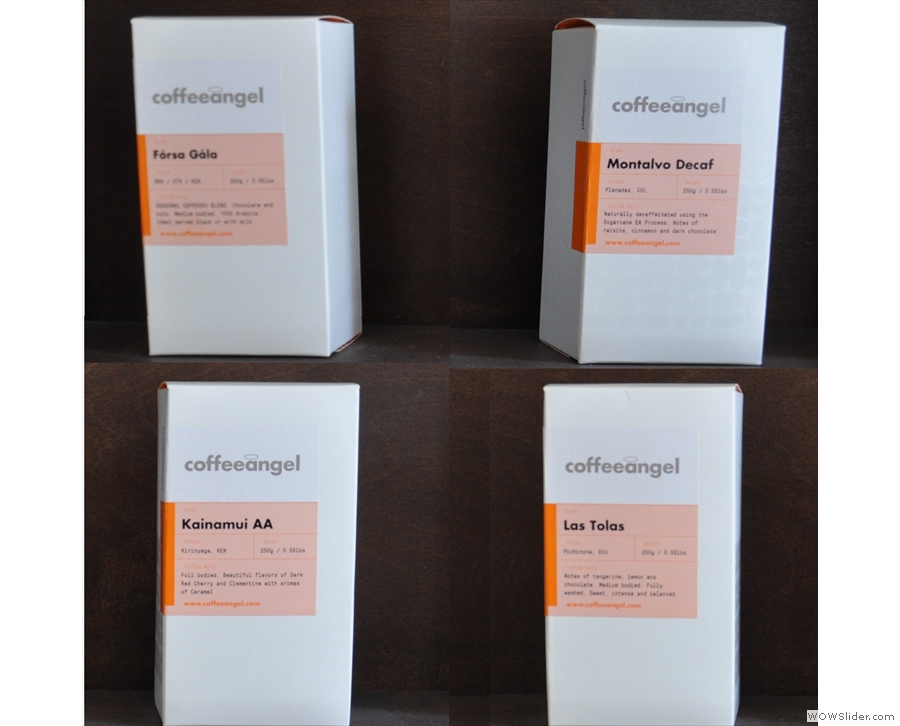 It's easier to see in this arrangement: house-blend + decaf (top), single-origins (bottom)
