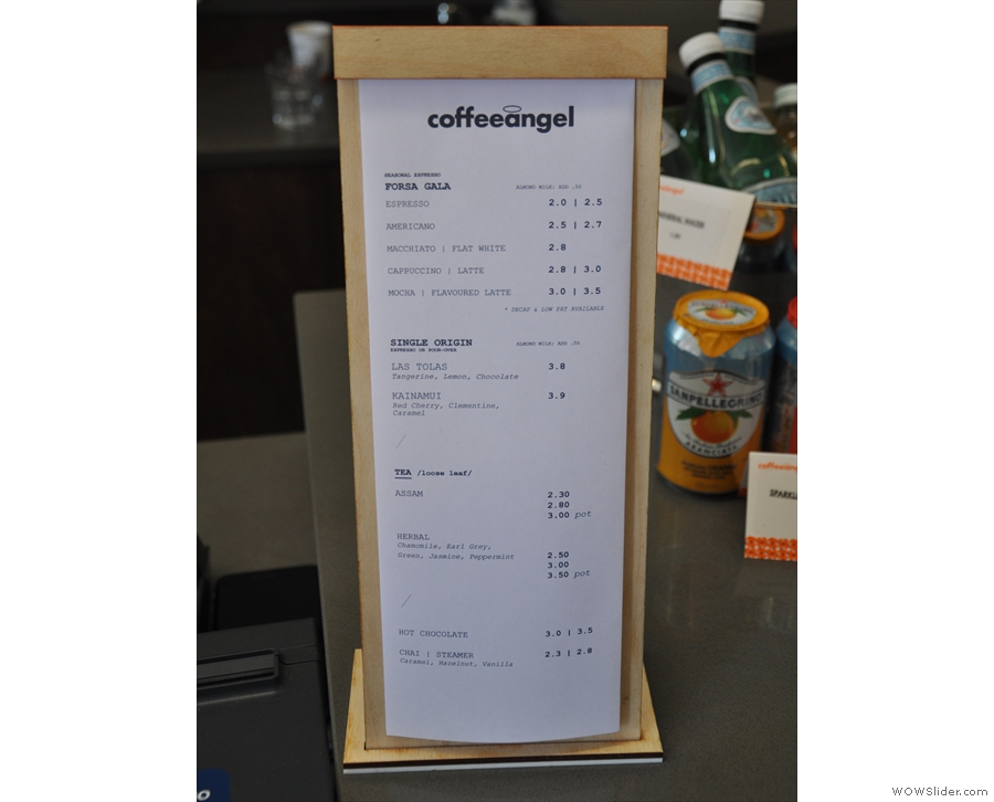 The concise Coffee Angel menu, showing the choice of beans and drink options.