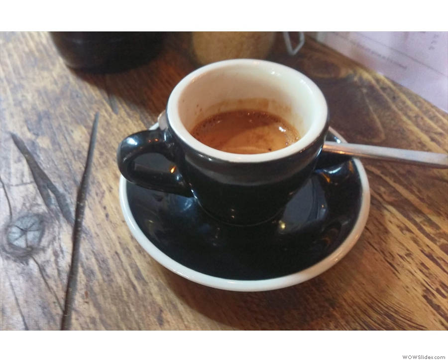 When I returned in July, I tried Yorks own-roasted coffee for the first time: espresso then...