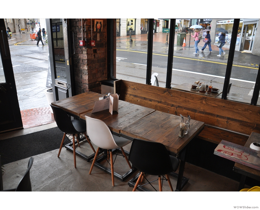 Meanwhile, the Stephenson Street side has retained its wooden bench and tables...