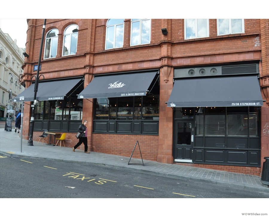 The new-look Yorks Café & Coffee Roasters, as seen from Pinfold Street...