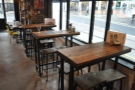 ... and the narrow window-bar down the side has been replaced by these high tables.