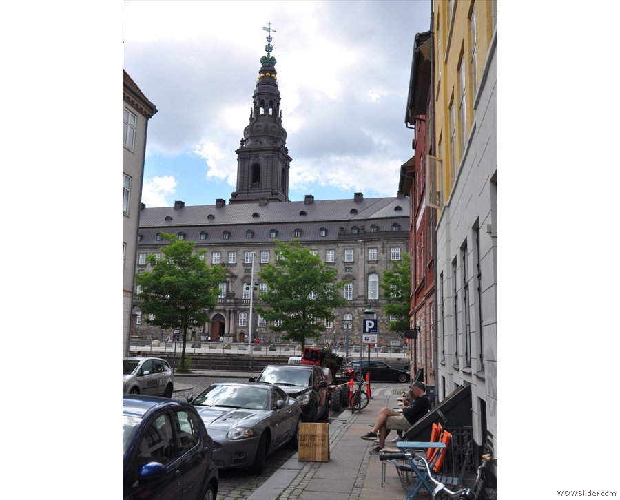 This is the view looking on down the street and across the canal to the Christiansborg Palace.