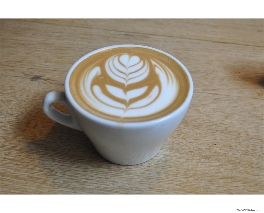 My beautiful flat white, made with the Brazilian Fazenda Rainha.