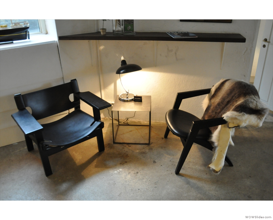 ... and Copenhagen Coffee Lab's two comfiest chairs on the right.
