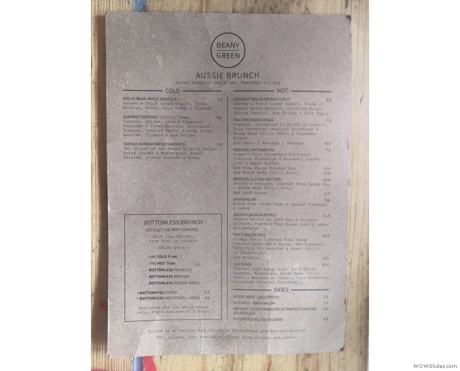 A close-up of the brunch menu, served until 3pm (all day at weekends).