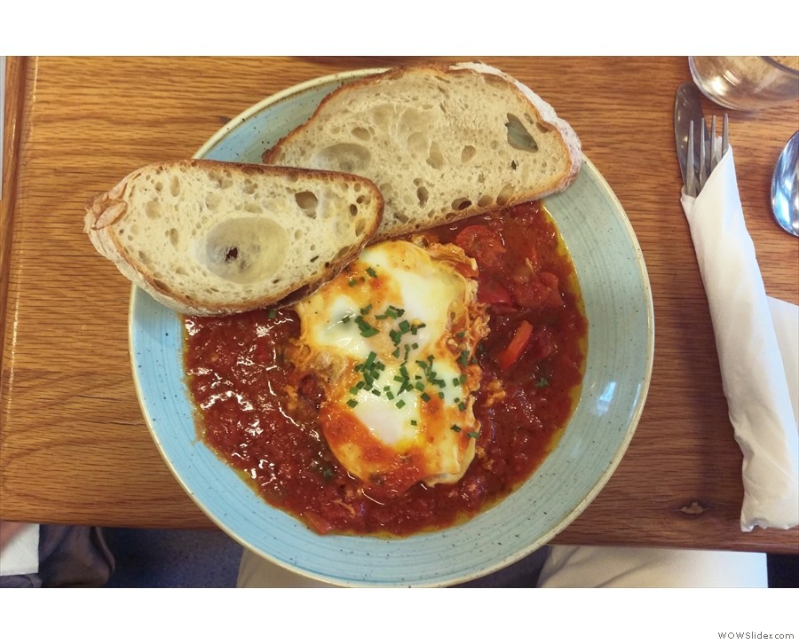 I had one of my all-time favourites: Shakshouska, baked eggs with sour dough toast.