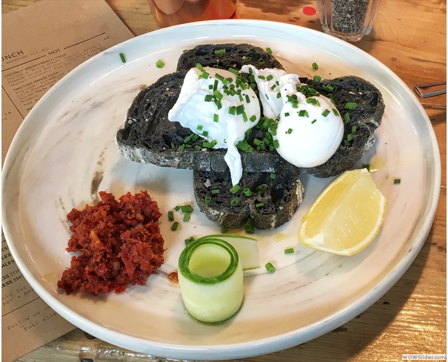 My friend Keith, meanwhile, had Poached Eggs on Charcoal Toast. It's better than it looks!