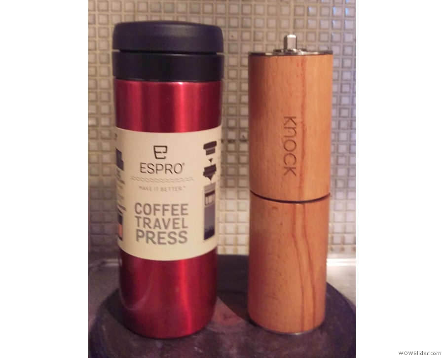 My latest acquisition, the Espro Travel Press (left), along with Woody, my Knock Grinder.
