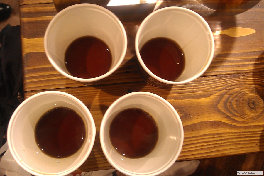 The four cups of coffee don't actually look that different in this picture, but they certainly tasted different!