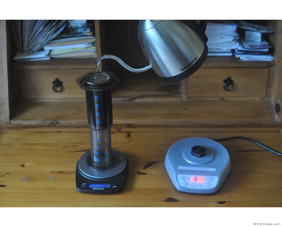 The gooseneck's control comes into its own when topping-up the Aeropress to the gram.