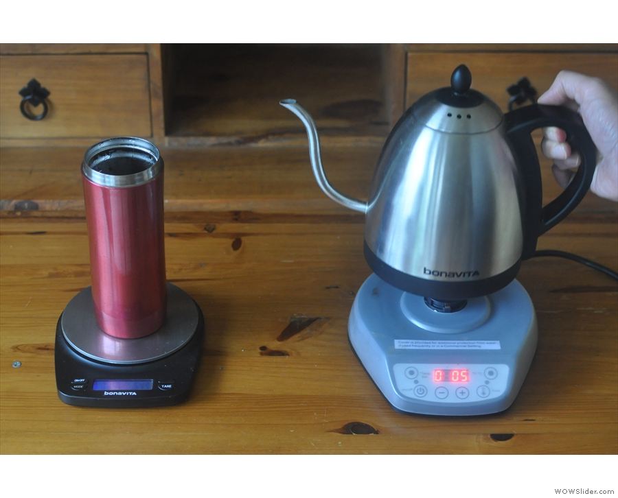 Press the + button once the kettle's off the base and the timer starts.