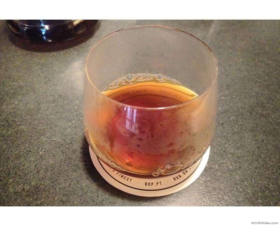 My resulting coffee, a delightful single-origin from Honduras.