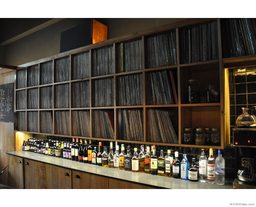 The extensive record collection is held behind the counter. You can also look them up on-line.