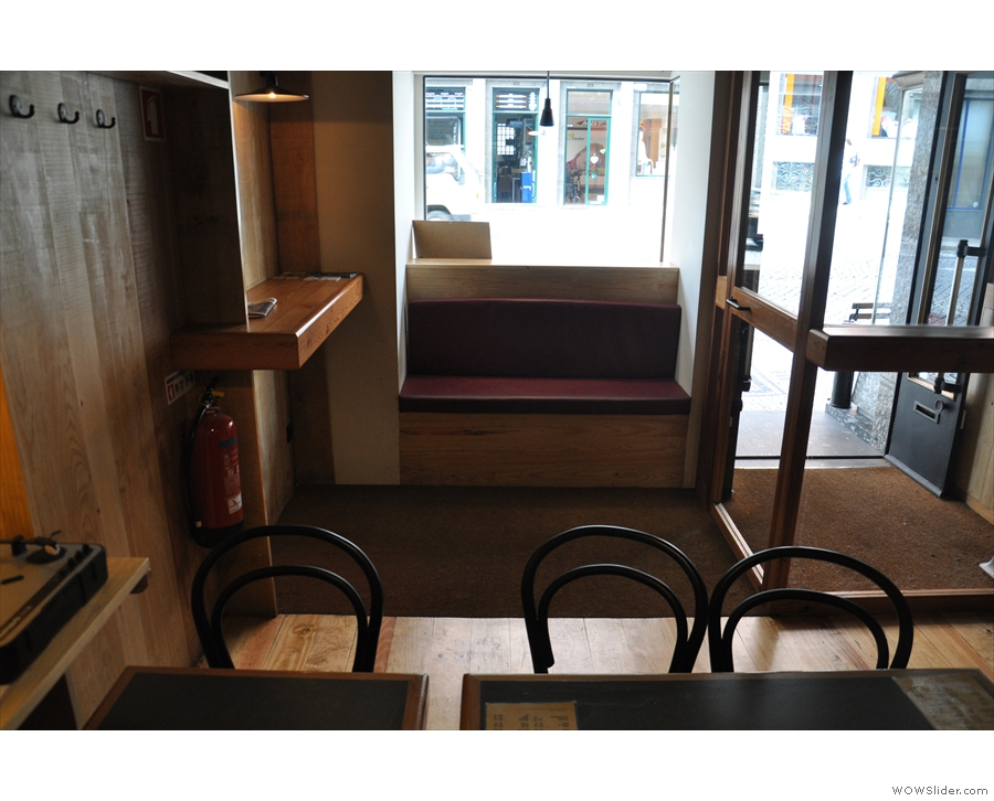 The only other seating option is this window-bench immediately to the right as you enter.