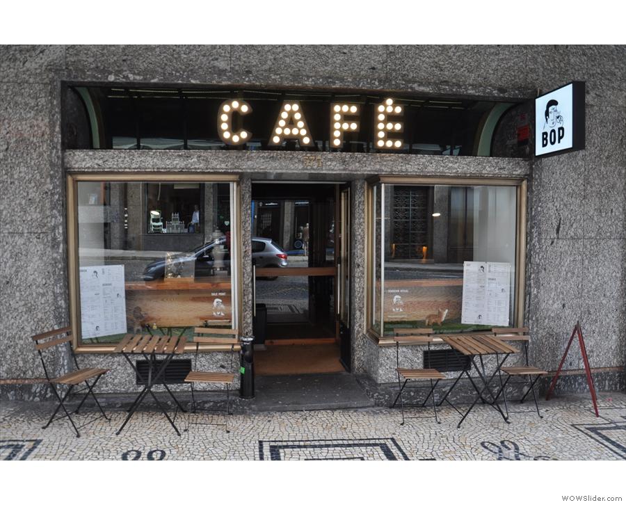 Bop, on Porto's Rua Da Firmeza, with its tables outside on the wonderful mosaic pavement.