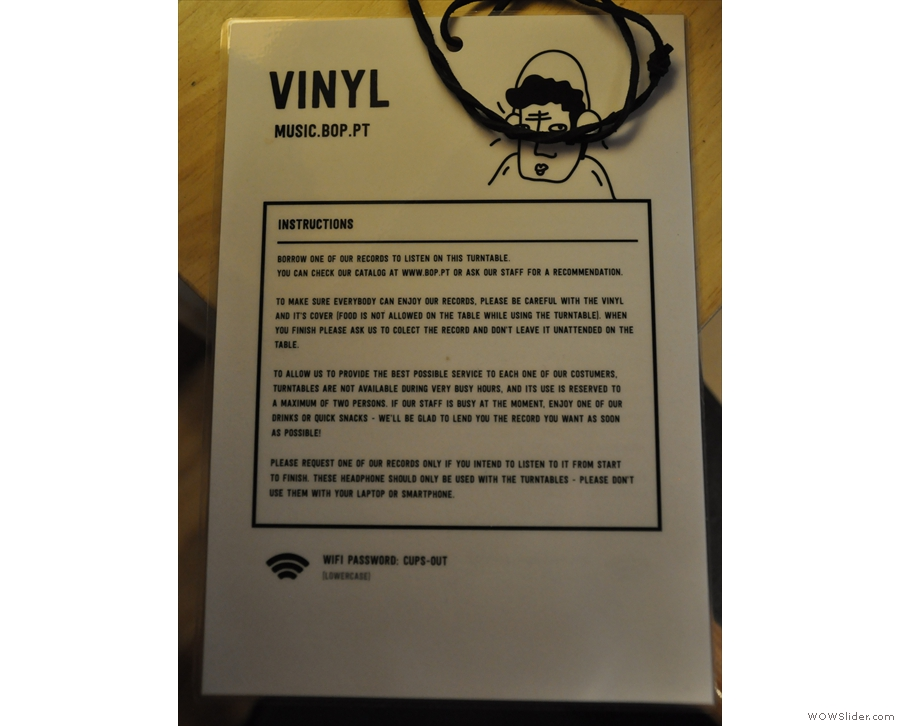 Extensive instructions are provided (in English). Summary: borrow a record, listen to it.