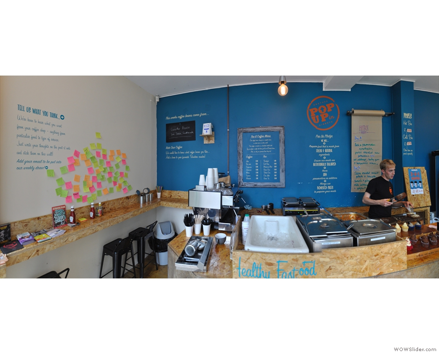 A panoramic view of the counter. There's also a sandwich chiller just out of shot to the right.