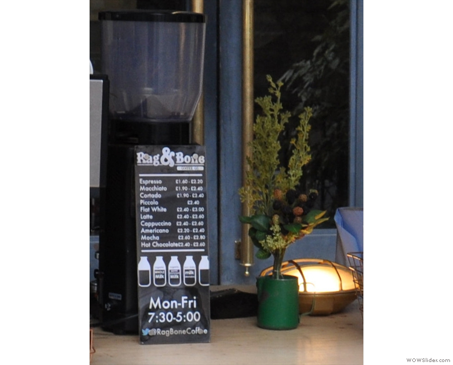 The coffee menu is quite comprehensive, with everything offered as a single or double shot.