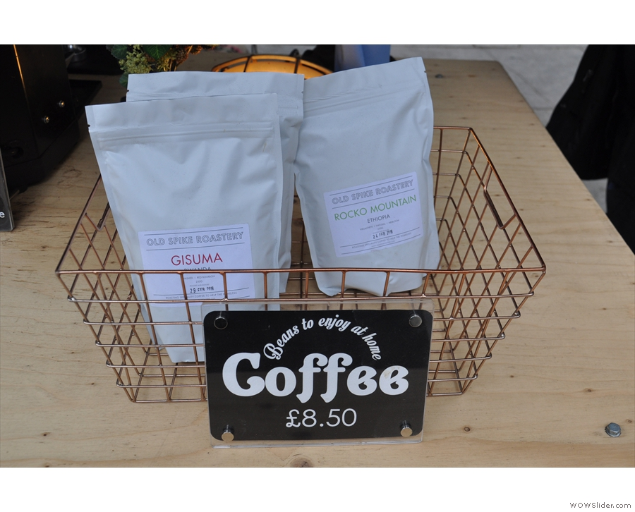 The coffee is from the Old Spike Roastery. There are even retail bags for you to take home.