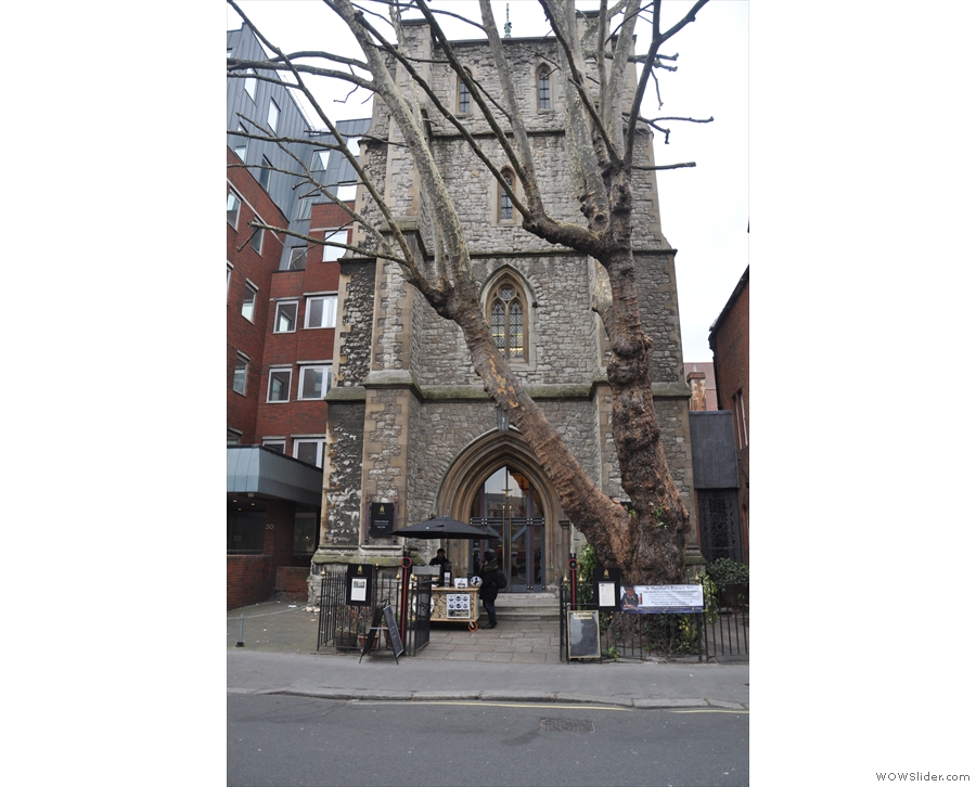 The tower of Saint Matthew's Church on Great Peter Street, home of Rag & Bone Coffee.