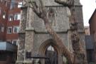 The tower of Saint Matthew's Church on Great Peter Street, home of Rag & Bone Coffee.