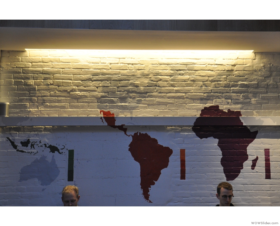 A neat feature is the painting of the various coffee-growing regions of the world on the wall.