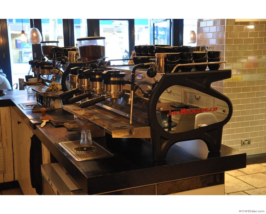 The business end of the twin La Marzocco Stradas.